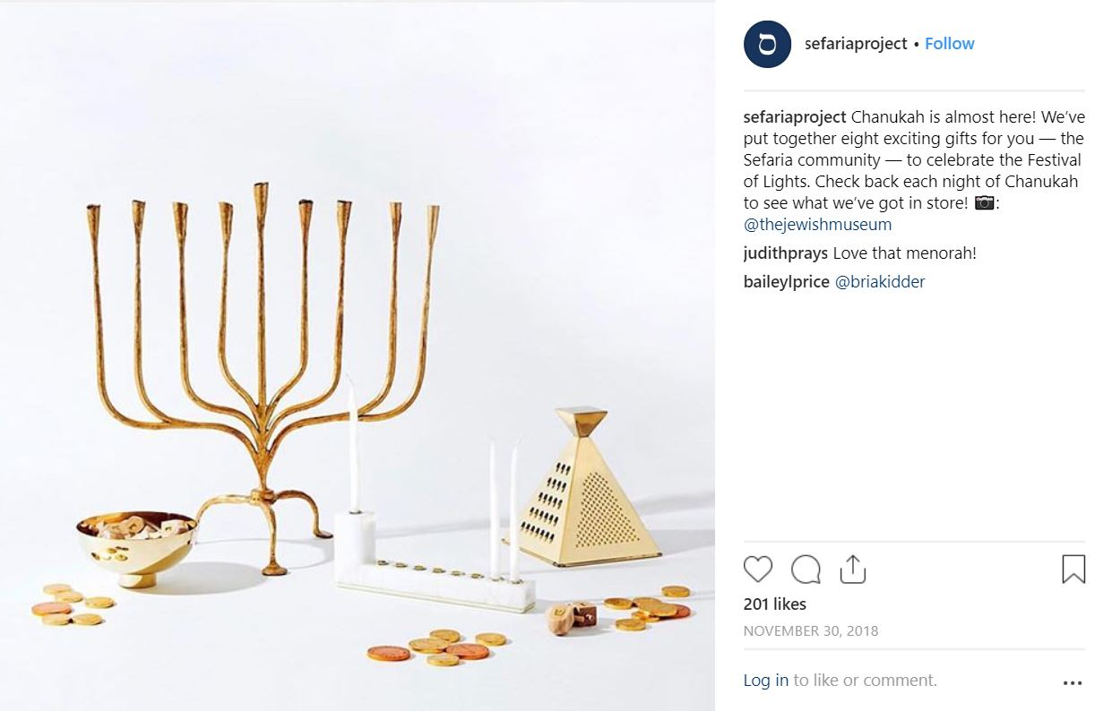 Sefaria's Instagram post announcing the Chanukah Gift Guide